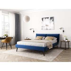 Atelier Mundo SA-376 - Cadre de lit avec tête de lit et sommier à lattes  en velours
