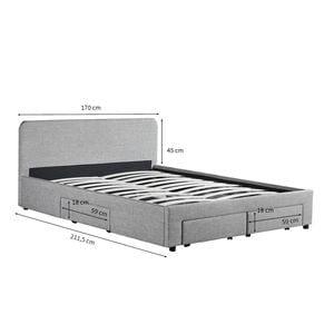 Atelier Mundo SA-377 - Cadre de lit avec 1 tiroir latéral droit et 2 tiroirs frontaux en tissu