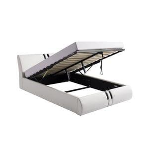 Atelier Mundo SA-403 - Cadre de lit avec tête de lit et sommier à lattes et coffre de rangement en simili
