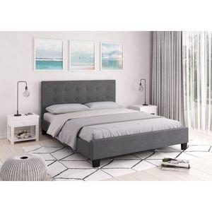 Atelier Mundo SA-404 - Cadre de lit avec tête de lit et sommier à lattes en tissu
