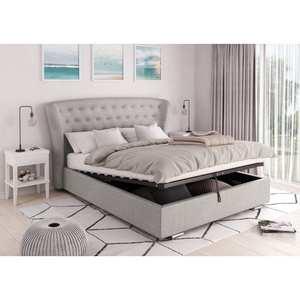 Atelier Mundo SA-405 - Cadre de lit avec tête de lit et sommier à lattes et coffre de rangement en tissu