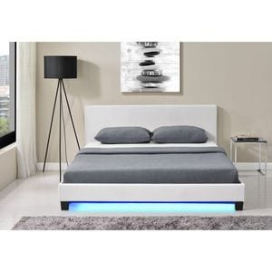 Atelier Mundo SA-407 - Cadre de lit avec éclairage LED, tête de lit et sommier à lattes en simili