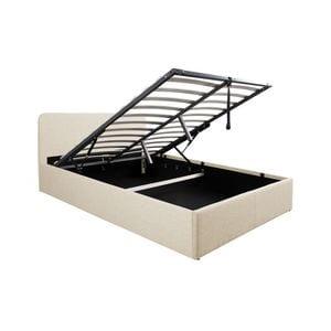 Atelier Mundo SA-439 - Cadre de lit avec tête de lit et sommier à lattes et coffre de rangement en tissu