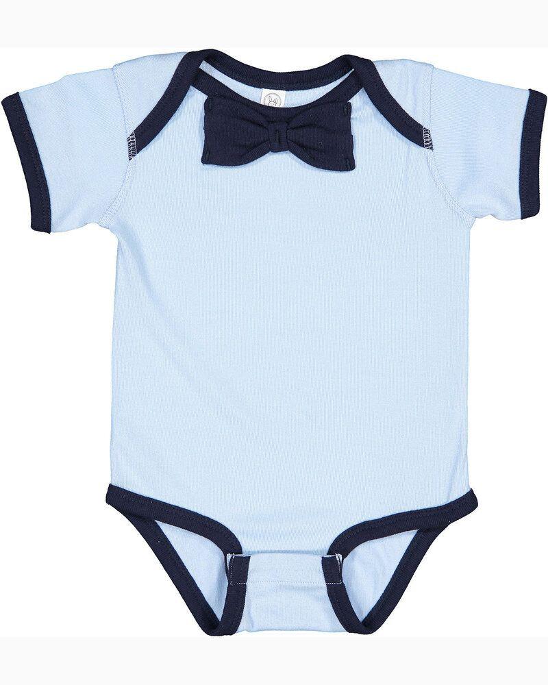 Rabbit Skins RS4407 - Infant Baby Rib Bow Tie Bodysuit