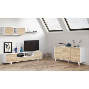 Atelier Mundo SA-502 - Meuble TV 3 portes avec 1 niche et étagère murale L200 cm