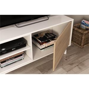 Atelier Mundo SA-499 - Meuble TV 2 portes avec 2 niches et étagère murale L180 cm