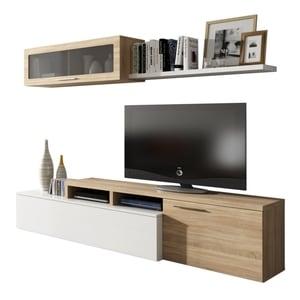 Atelier Mundo SA-498 - Meuble TV 2 portes avec étagère murale L200 cm