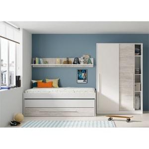 Atelier Mundo SA-497 - Lit Gigogne (190x90 + 180x90) sans sommier, avec 1 tiroir et 1 étagère