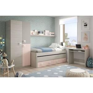 Atelier Mundo SA-496 - Lit enfant gigogne (190x90 + 180x90) sans sommier, avec 2 tiroirs et 1 étagère