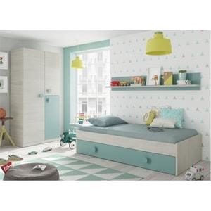 Atelier Mundo SA-495 - Lit 1 tiroir sans sommier avec étagère murale L201 cm