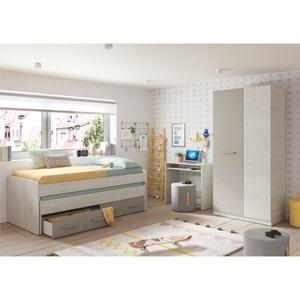 Atelier Mundo SA-493 - Lit enfant gigogne sommier inclus (190x90 + 180x90) avec 2 tiroirs de rangement