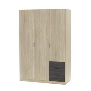 Atelier Mundo SA-471 - Armoire industrielle 3 portes bois + 3 tiroirs gris L121 x H180 cm