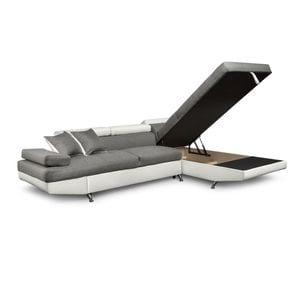 Atelier Mundo SA-252 - Canapé dangle convertible 5 places avec coffre de rangement en tissu et simili