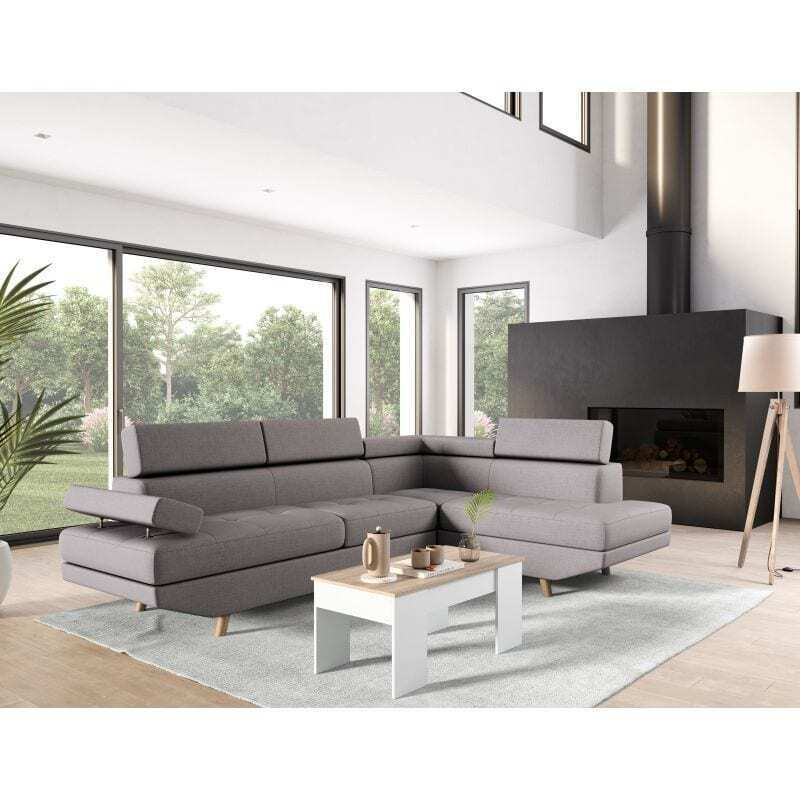 Atelier Mundo SA-212 - Canapé d'angle droit style scandinave en tissu