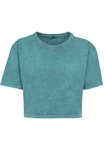 Build Your Brand BY054C - Ladies Acid Washed Cropped Tee
