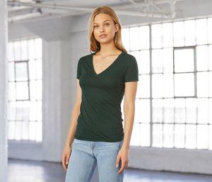 Bella + Canvas BE8435 - Camiseta tricolor con cuello en V para mujer