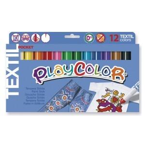 Playcolor 10561 - Jeu de 12 craies pour textile permanents
