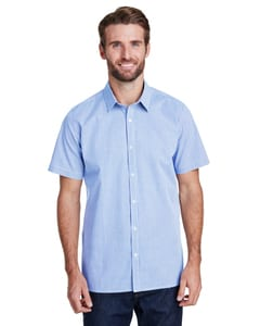 Artisan Collection by Reprime RP221 - Mens Microcheck Gingham Short-Sleeve Cotton Shirt