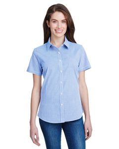 Artisan Collection by Reprime RP321 - Ladies Microcheck Gingham Short-Sleeve Cotton Shirt