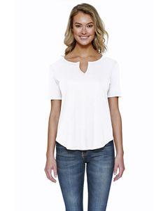 StarTee ST1422 - Ladies 4.3 oz., CVC  Slit V-Neck T-Shirt