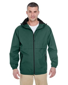 UltraClub 8908 - Adult Microfiber Full-Zip Hooded Jacket