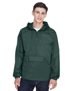 UltraClub 8925 - Adult Quarter-Zip Hooded Pullover Pack-Away Jacket