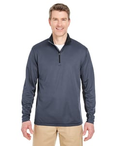UltraClub 8237 - Adult Two-Tone Keyhole Mesh Quarter-Zip Pullover