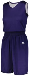 Russell 5R8DLX - Ladies Undivided Solid Single Ply Reversible Shorts