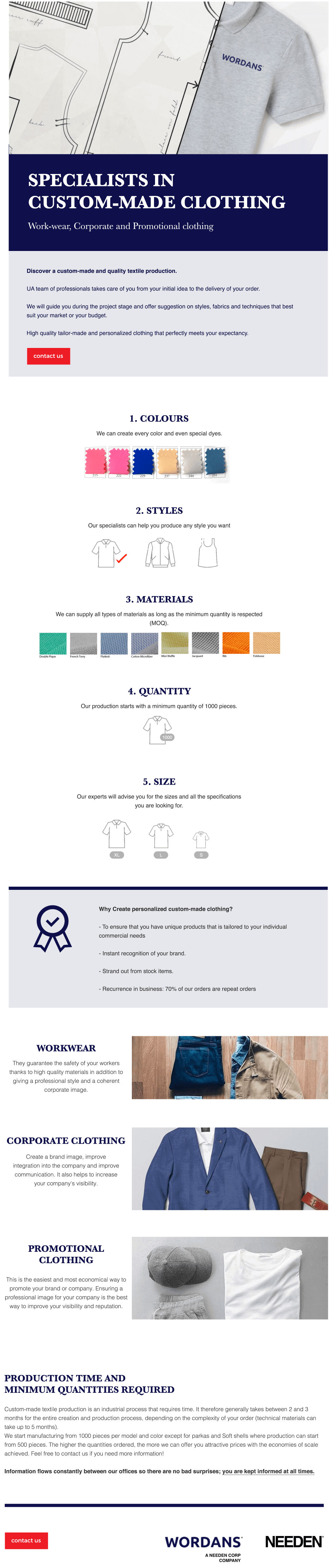 Specialists in custom-made clothing