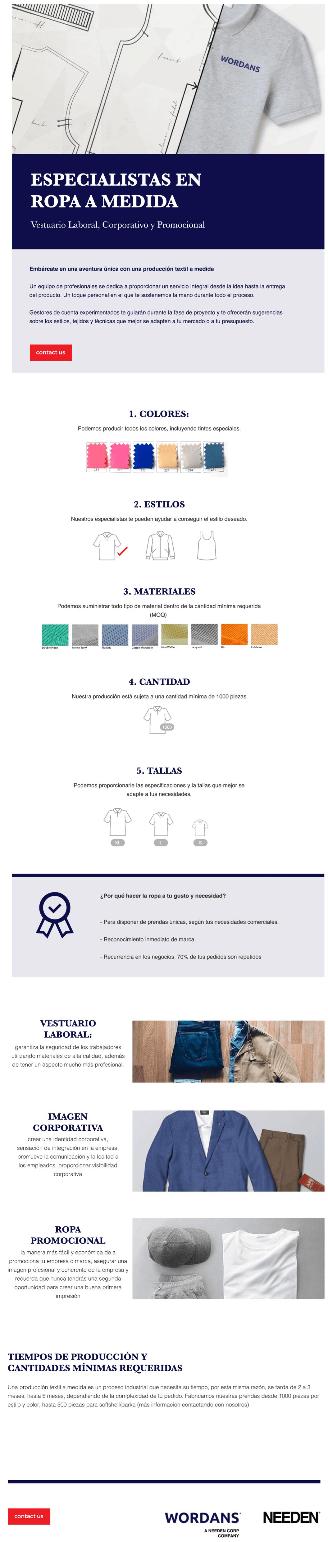 Especialistas en ropa a medida