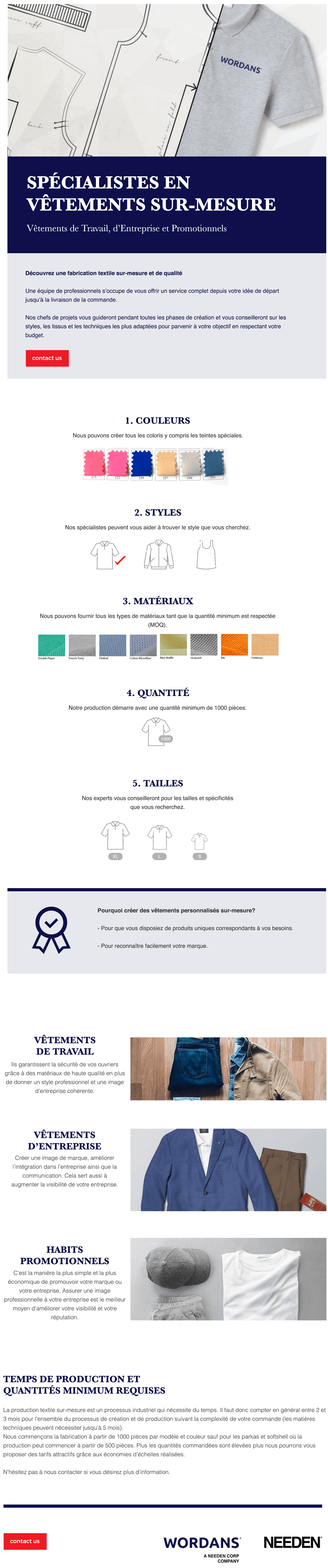 Spécialistes en vêtements sur-mesure