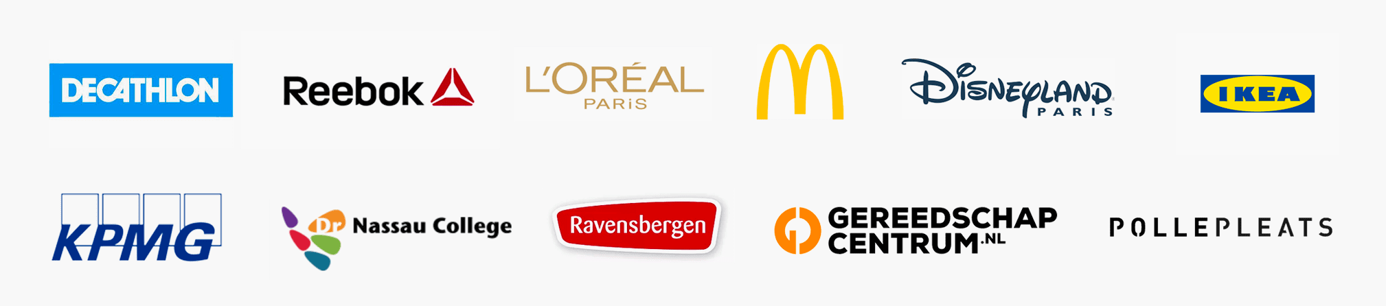 Decathlon, Reebok, L'Oreal, Disneyland, Ikea