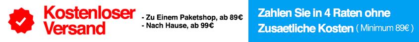 Kostenloser versand bei einem bestellwert von mehr als 89€