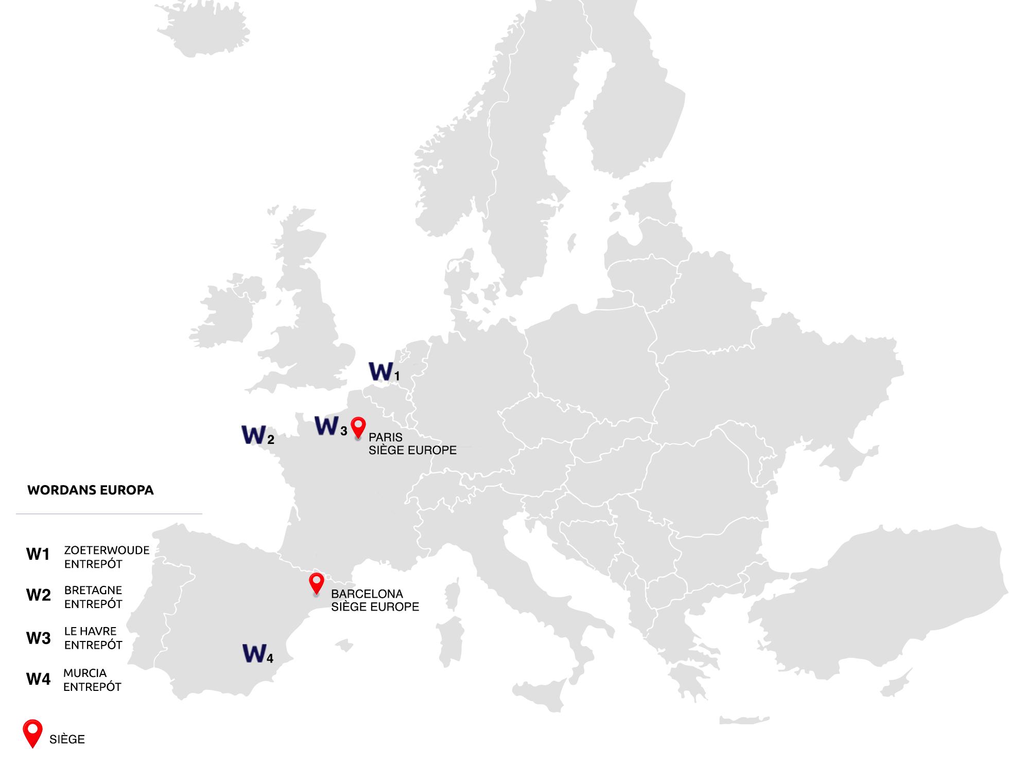 Carte des entrepôts