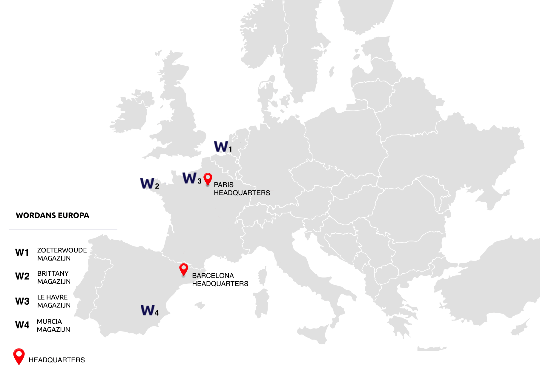 Map of warehouses